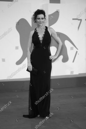 """(EDITOR'S NOTE: Image was converted to black and white) Maja Ostaszewska walks the red carpet ahead of the movie """"Sniegu Juz Nigdy Nie Bedzie"""" (Never Gonna Snow Again) at the 77th Venice Film Festival on September 07, 2020 in Venice, Italy."""