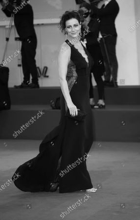 """Stock Image of (EDITOR'S NOTE: Image was converted to black and white) Maja Ostaszewska walks the red carpet ahead of the movie """"Sniegu Juz Nigdy Nie Bedzie"""" (Never Gonna Snow Again) at the 77th Venice Film Festival on September 07, 2020 in Venice, Italy."""