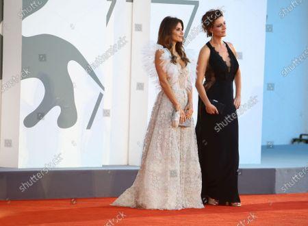 "Weronika Rosati and  Maja Ostaszewska walk the red carpet ahead of the movie ""Sniegu Juz Nigdy Nie Bedzie"" (Never Gonna Snow Again) at the 77th Venice Film Festival on September 07, 2020 in Venice, Italy."