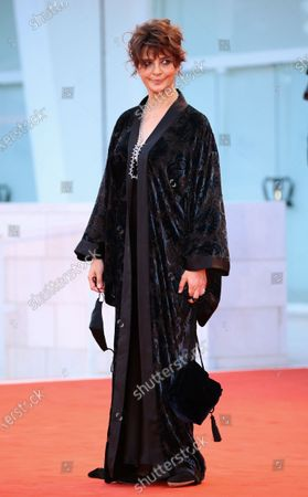 Laura Morante poses on the red carpet during the 77th Venice Film Festival on September 02, 2020 in Venice, Italy.