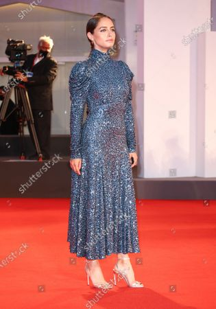 Matilde Gioli  is seen arriving at the Excelsior during the 77th Venice Film Festival on September 06, 2020 in Venice, Italy.