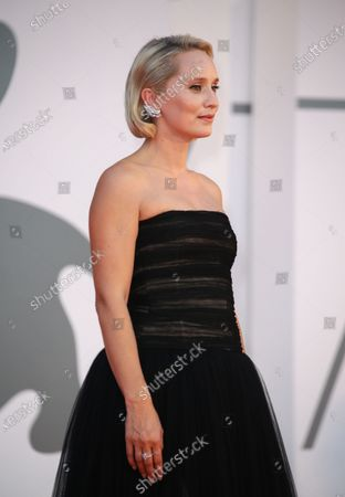 Mona Fastvold  is seen arriving at the Excelsior during the 77th Venice Film Festival on September 06, 2020 in Venice, Italy.