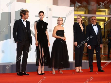 L-R) Christopher Abbott, Katherine Waterston, Director Mona Fastvold, Vanessa Kirby are seen arriving at the Excelsior during the 77th Venice Film Festival on September 06, 2020 in Venice, Italy.