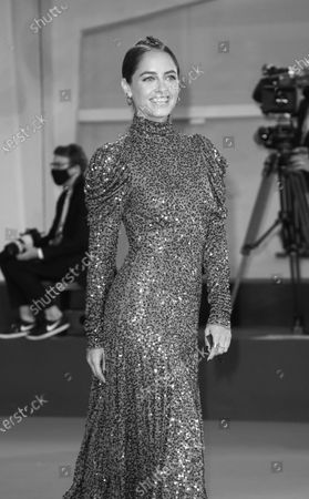 (EDITOR'S NOTE: Image was converted to black and white) Matilde Gioli  is seen arriving at the Excelsior during the 77th Venice Film Festival on September 06, 2020 in Venice, Italy.