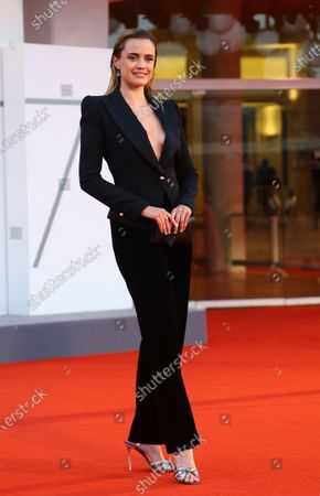 """Stock Image of Nathalie Rapti Gomez walks the red carpet ahead of the movie """"Padrenostro"""" at the 77th Venice Film Festival at on September 04, 2020 in Venice, Italy."""
