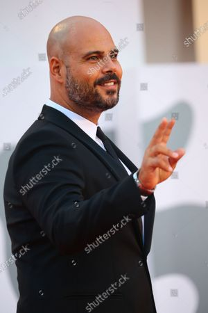 """Marco D'Amore walks the red carpet ahead of the movie """"Padrenostro"""" at the 77th Venice Film Festival at on September 04, 2020 in Venice, Italy."""