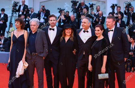 Orizonti Jury members Frederic Bonnaud, Fatemeh Motamed-Aria, Mohamed Hefzy, president of the jury Athina Tsangari, jury members Michael Almereyda, Alison Maclean and Andrea Pallaoro walk the red carpet ahead of the opening ceremony and the 'First Man' screening during the 75th Venice Film Festival, in Venice, Italy, on August 29, 2018.