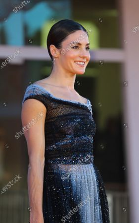 Natasha Andrews walks the red carpet ahead of the movie 'Amants' at the 77th Venice Film Festival at on September 03, 2020 in Venice, Italy.