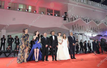 Venice, Italy. 08 September, 2017.Alberto Barbera (1nd R), Angeles Woo, Ha Ji-Won, Zhang Hanyu, John Woo, Qi Wei, Tao Okamoto  walk the red carpet ahead of the 'Manhunt (Zhuibu)' screening during the 74th Venice Film Festival