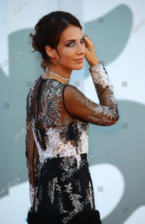"""Michelle Carpente walk the red carpet ahead of the movie """"Nomadland"""" at the 77th Venice Film Festival on September 11, 2020 in Venice, Italy."""