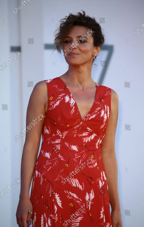 """Jasmine Trinca walk the red carpet ahead of the movie """"Nomadland"""" at the 77th Venice Film Festival on September 11, 2020 in Venice, Italy."""