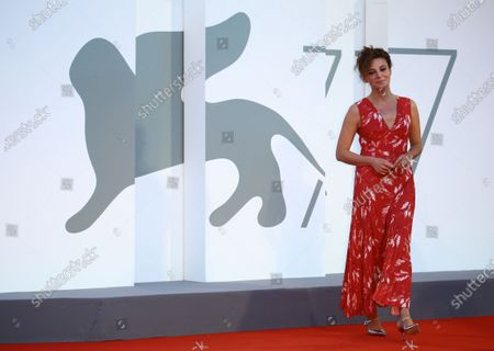 """Stock Image of Jasmine Trinca walk the red carpet ahead of the movie """"Nomadland"""" at the 77th Venice Film Festival on September 11, 2020 in Venice, Italy."""