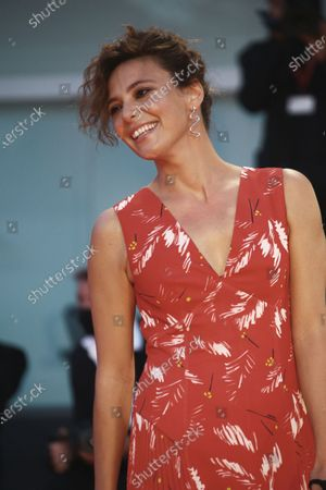 """Stock Picture of Jasmine Trinca walk the red carpet ahead of the movie """"Nomadland"""" at the 77th Venice Film Festival on September 11, 2020 in Venice, Italy."""