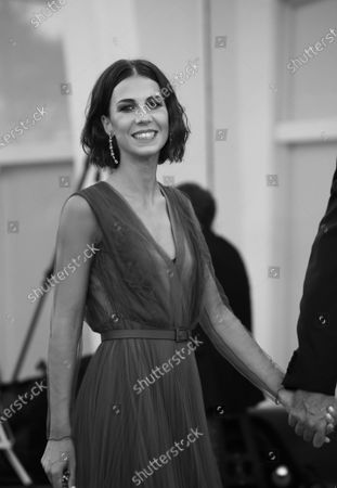 (EDITOR'S NOTE: Image was converted to black and white) Michelle Carpente  walks the red carpet ahead of closing ceremony at the 77th Venice Film Festival on September 12, 2020 in Venice, Italy.
