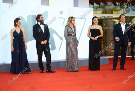 Maya Sansa, Stefano Mordini, Valeria Golino, Serena Rossi, Stefano Accorsi walk the red carpet ahead of closing ceremony at the 77th Venice Film Festival on September 12, 2020 in Venice, Italy.