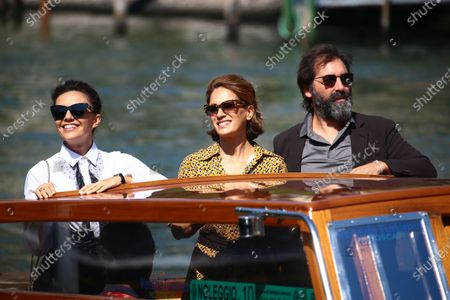 Stock Image of (L-R) Serena Rossi, Maya Sansa and Director Stefano Mordini are seen arriving at the Excelsior during the 77th Venice Film Festival on September 12, 2020 in Venice, Italy.