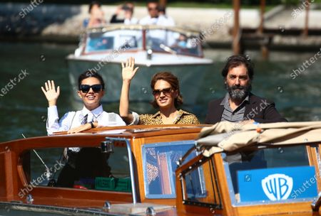 (L-R) Serena Rossi, Maya Sansa and Director Stefano Mordini are seen arriving at the Excelsior during the 77th Venice Film Festival on September 12, 2020 in Venice, Italy.