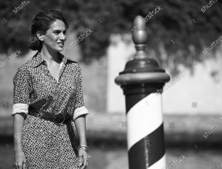 Stock Photo of (EDITOR'S NOTE: Image was converted to black and white) Maya Sansa is seen arriving at the Excelsior during the 77th Venice Film Festival on September 12, 2020 in Venice, Italy.