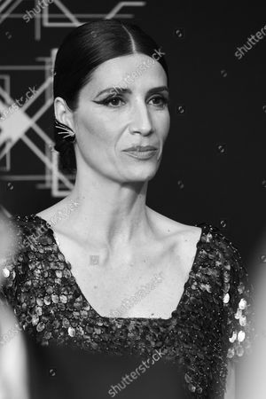 (EDITOR'S NOTE: Image converted to black and white) Elia Galera attends the 34th 'Goya' Cinema Awards 2020 Red Carpet photocall at Jose Maria Martin Carpena Sports Palace in Malaga, Spain on Jan 25, 2020