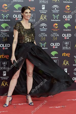 Stock Image of Elia Galera attends the 34th 'Goya' Cinema Awards 2020 Red Carpet photocall at Jose Maria Martin Carpena Sports Palace in Malaga, Spain on Jan 25, 2020