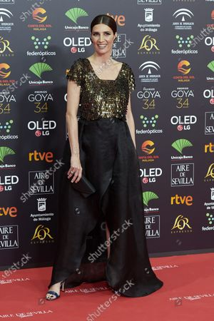 Stock Picture of Elia Galera attends the 34th 'Goya' Cinema Awards 2020 Red Carpet photocall at Jose Maria Martin Carpena Sports Palace in Malaga, Spain on Jan 25, 2020