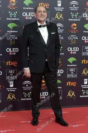 Karra Elejalde attends the 34th 'Goya' Cinema Awards 2020 Red Carpet photocall at Jose Maria Martin Carpena Sports Palace in Malaga, Spain on Jan 25, 2020