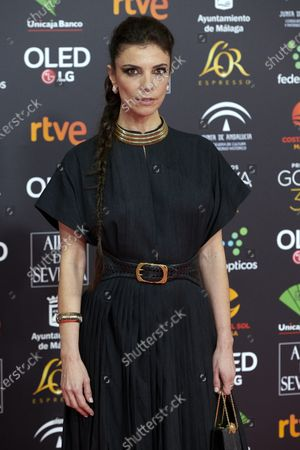 Stock Image of Maribel Verdu attends the 34th 'Goya' Cinema Awards 2020 Red Carpet photocall at Jose Maria Martin Carpena Sports Palace in Malaga, Spain on Jan 25, 2020