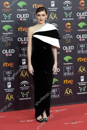 Marta Nieto attends the 34th 'Goya' Cinema Awards 2020 Red Carpet photocall at Jose Maria Martin Carpena Sports Palace in Malaga, Spain on Jan 25, 2020
