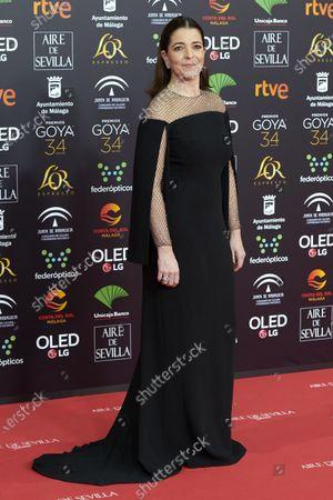 Nora Navas attends the 34th 'Goya' Cinema Awards 2020 Red Carpet photocall at Jose Maria Martin Carpena Sports Palace in Malaga, Spain on Jan 25, 2020
