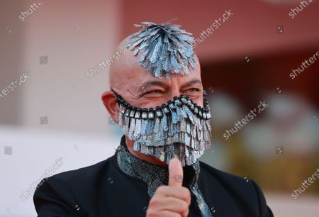 Principe Maurice poses on the red carpet with the Golden Lion Lifetime achievement award after the Opening Ceremony during the 77th Venice Film Festival on September 02, 2020 in Venice, Italy.