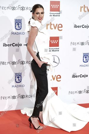 Mar Saura attends the 'Jose Maria Forque' 2020 awards Red Carpet photocall at Ifema in Madrid, Spain on Jan 11, 2020