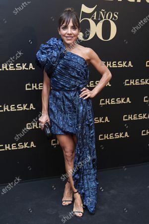Stock Image of Paula Ordovas attends the 50th Cheska Anniversary photocall at Santa Barbara Palace in Madrid, Spain on Mar 5, 2020