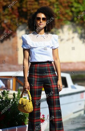 Nathalie Emmanuel is seen arriving at the Excelsior during the 77th Venice Film Festival on September 08, 2020 in Venice, Italy.