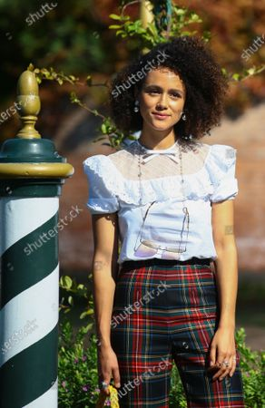 Stock Image of Nathalie Emmanuel is seen arriving at the Excelsior during the 77th Venice Film Festival on September 08, 2020 in Venice, Italy.