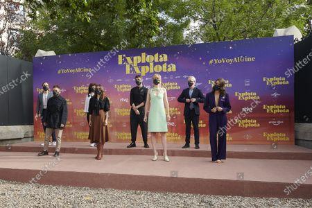 Carlos Hipolito, Veronica Echegui, Ingrid Garcia Jonsson, Fernando Tejero, Ana Guerra, Fran Morcillo, Nacho Alvarez attends the 'Explota Explota' photocall at Santa Barbara Palace in Madrid, Spain, on September 29, 2020.