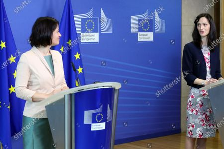 EU commissioner for Innovation, Research, Culture, Education and Youth, Bulgaria's Mariya Gabriel (R) and Biliana Sirakova, EU Youth Coordinator, give a press conference in Brussels, Belgium, 01 June 2021.