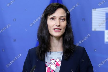EU commissioner for Innovation, Research, Culture, Education and Youth, Bulgaria's Mariya Gabriel gives a press conference in Brussels, Belgium, 01 June 2021.