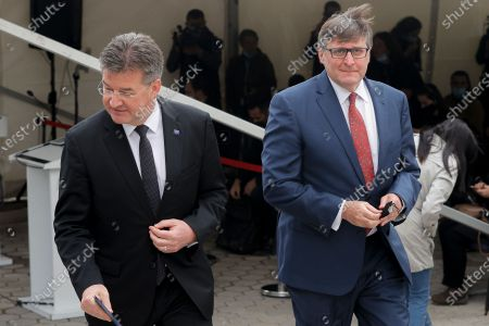 Miroslav Lajcak (L), EU Special Representative for the Pristina-Belgrade Dialogue and Matthew Palmer (R), US Secretary of State's Special Representative for the Western Balkans leave after a joined press conference following their meetings with Kosovo's political leaders in Pristina, Kosovo, 01 June 2021. Matthew Palmer and Miroslav Lajcak are on a two-day official visit to Kosovo.