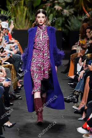 A model walks the runway 'Steps AW 19/20' during the Jorge Vazquez fashion show at the Madrid Mercedes Benz Fashion Week Autumn/Winter 2019-2020 on January 28 2019 in Madrid, Spain