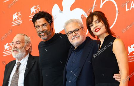 (L-R) Renato Carpentieri, Alessandro Gassmann, Roberto Ando and Micaela Ramazzotti attends 'Una Storia Senza Nome' photocall during the 75th Venice Film Festival on September 7, 2018 in Venice, Italy.