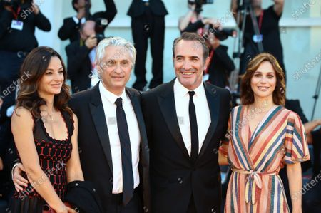 Nathalie Pchalat, Jean Dujardin, Alain Goldman and guest walks the red carpet ahead of the 'J'Accuse' (An Officer And A Spy) screening during the 76th Venice Film Festival at Sala Grande on August 30, 2019 in Venice, Italy.