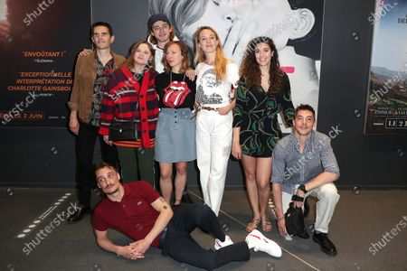 Stock Image of Mathieu Lescop, Pierre Lottin, Sara Forestier, Guest, The director, Nine Antico, Laetitia Dosch, Inas Chanti, Andranic Manet poses during the preview of the film, Playlist, at the UGC Cine Cite les Halles