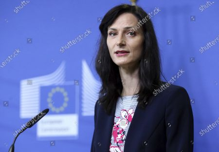 European Union Commissioner for Innovation, Research, Culture, Education and Youth Mariya Gabriel speaks during a media conference at EU headquarters in Brussels