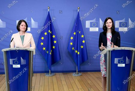 European Union Commissioner for Innovation, Research, Culture, Education and Youth Mariya Gabriel, right, and European Union Youth Coordinator Biliana Sirakova participate in a media conference at EU headquarters in Brussels