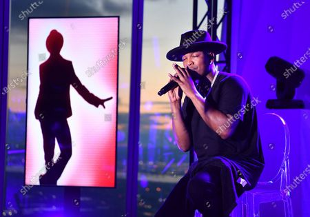Stock Picture of Ne-Yo performs at the Northwell Health 'Side By Side' Memorial Day Concert Honoring Military and Health Care Workers at the World Trade Observatory in New York City.