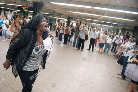 Editorial image of Alice Tan Ridley 'busking' at a subway station, New York, America - 21 Jun 2010