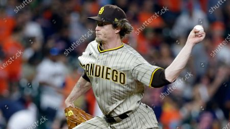 San Diego Padres relief pitcher Tim Hill during a baseball game against the Houston Astros, in Houston