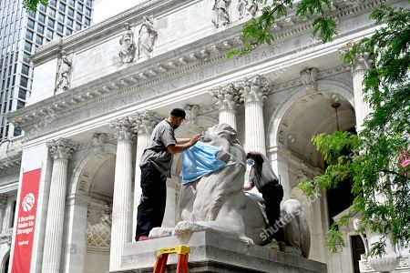 Stock Photo of Workers place a large face mask of the lion statues outside the New York Public Library Stephen A. Schwarzman Building in New York.