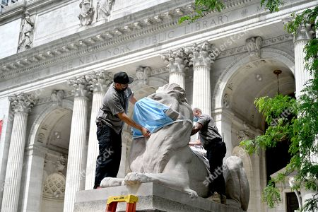 Editorial picture of Lion Statues get Face Masks at the New York Public Library Stephen A. Schwarzman Building, New York, USA - 01 Jun 2021