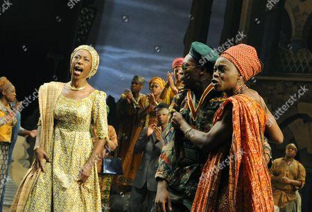 'Welcome to Thebes' - Nikki Amuka-Bird (Eurydice), Chuk Iwuji (Prince Tydeus) and Rakie Ayola (Pargeia)